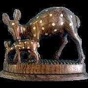 Hand Carved Wood Deer OOAK Lighter inlaid Blonde Wood Figurine Vintage