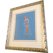 """H. Sutton Tempera Painting Watercolor Redhead Bombshell 1950's Pinup Girl """"Coaktails For Two"""" Works on Paper Signed by Artist"""