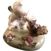 Lefton Angel Baby Cherub K 8146 Squirrel Spaghetti Porcelain Figurine