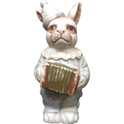 Antique Bisque Accordion Rabbit Carnival Prize Clown Bunny Made in Japan S/380