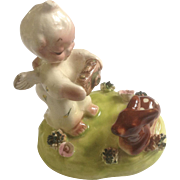 Itsy Bitsy Angel Cherub Japan Figurine Taking pictures of a Fawn Figurine