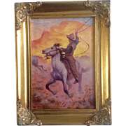 Horse And Cowboy Roundup Small Original Oil Painting on Board Picture