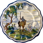 Talavera Don Quixote Riding a Horse, Majolica Hand Painted Pottery Plate 10-3/4 inches, Monogramed