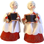 """Holt Howard Choir Boys Carolers Christmas Ceramic Head Cardboard 7-1/2"""" Japan Figurines"""