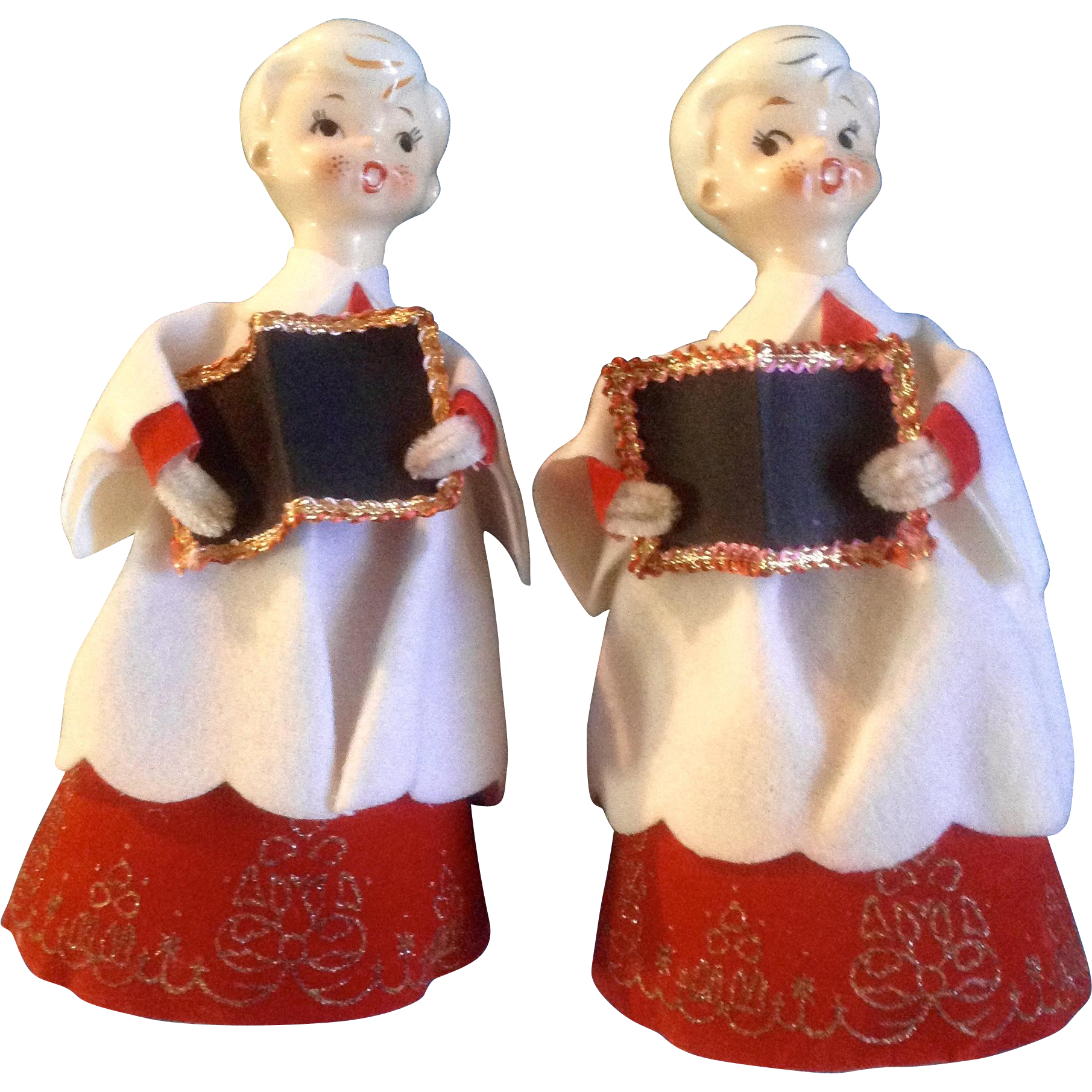 Vintage Ceramic Christmas Carolers Choir Boy And Girl: Holt Howard Choir Boys Carolers Christmas Ceramic Head