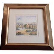 Sinisa Milanov, Florence Tuscany Italy Hillside 1 Home, Watercolor Painting Signed by Artist, Works on Paper