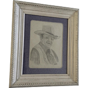John Wayne Pencil Sketch Drawing Works on Paper Signed by Artist Becky Kalbig 1981 Picture of The Duke Art