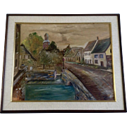 Mario, Bridge to Town, Oil Painting on Canvas Board, Signed by Denver Colorado Artist