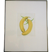 "Yu Cha Pak, Watercolor Painting, Two Bananas Titled ""Jumprope"" Original Works on Paper Signed by Artist"