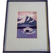 Ruth Leonard, Batik on Silk, Vehicle Ferry Crossing Chanel With Mt Rainier, Painting Signed by Seattle Washington Artist