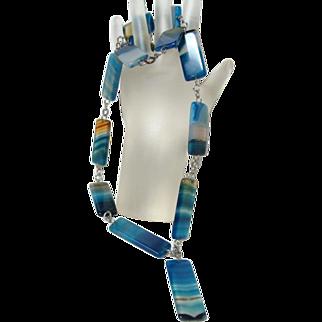 Vintage Blue Banded Agate Necklace