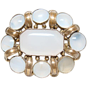 Victorian Chalcedony and Pinchbeck Brooch