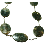 Arts and Crafts Handmade Moss Agate Necklace