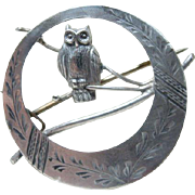 Antique Asethetic Period Owl Brooch
