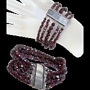 Antique Victorian Pair Garnet Bracelets
