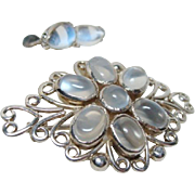 Vintage Moonstone Brooch and Earrings Set