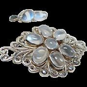 Vintage Moonstone Brooch and Earrings Set
