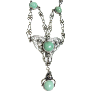 Beautiful Victorian Turquoise Silver Filigree Necklace