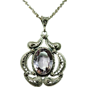 Antique Victorian Filigree Silver and Amethyst Necklace
