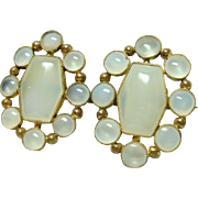 Large Antique Chalcedony Brooch