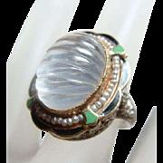 Gorgeous Deco Fluted Moonstone Enamel Ring 14kt