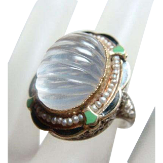 Gorgeous Deco Fluted Moonstone Enamel Ring 14kt