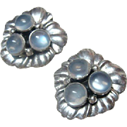Beautiful Vintage Moonstone Clip On Earrings