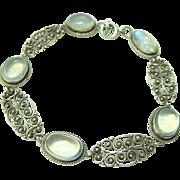 Nouveau Italian Moonstone Filigree Bracelet
