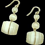 Rare Stanhope Feldspar Moonstone Barrel Earrings