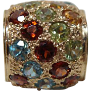 Vintage 14kt Gold Multi Gemstone Slide