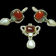 Vintage Carnelian, Topaz and Pearl Set