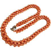 Beautiful Vintage Woven Coral Necklace