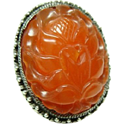 Beautiful Large Carved Carnelian Ring