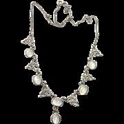 Vintage Rainbow Moonstone Festoon Necklace