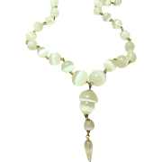 Antique Unpolished Moonstone Feldspar Drop Acorn Necklace