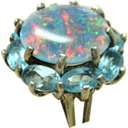 Vintage Sterling Opal Doublet and Topaz Ring