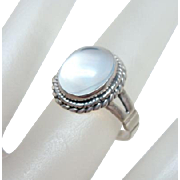 Vintage Moonstone Solitaire Sterling Ring