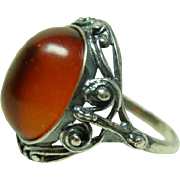 Antique Amber Arts and Crafts Sterling Ring