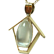 Vintage Large Moonstone and Gold Pendant