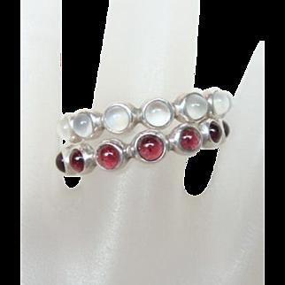 Vintage Pair Garnet and Moonstone Rings
