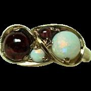 Edwardian Opal and Garnet Ring