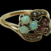 Antique Edwardian Opal, Amethyst, Seed Pearl Ring