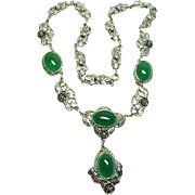 Chrysoprase Arts and Crafts Necklace