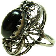 Vintage Black Onyx Sterling 925 Filigree Ring