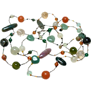 Vintage 50 Inch Agate Multi Stone Necklace