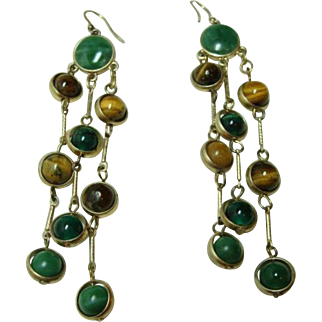 Vintage Chandelier Malachite and Tiger Eye Earrings