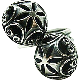 Deco Sterling Double Orb Ring