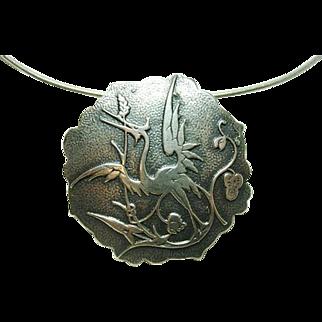 Vintage Max Neiger Sterling Crane Pendant Necklace