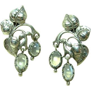 Antique Arts and Crafts Moonstone Earrings