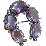 Victorian Amethyst and Seed Pearl Horseshoe Brooch